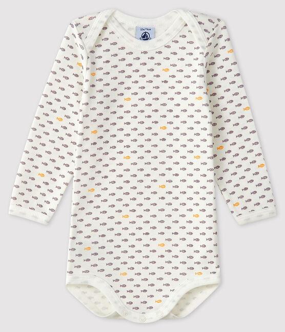 Baby Boys' Long-Sleeved Bodysuit Marshmallow white / Multico white
