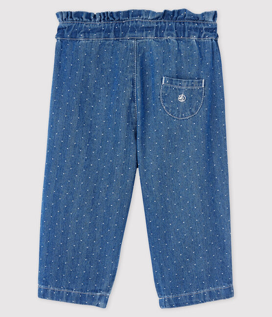 Baby Girls' Light Denim Spotted Trousers Denim clair blue