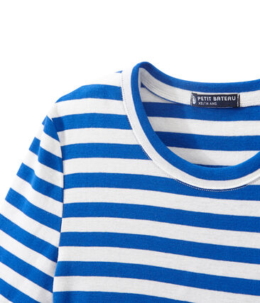Women's T-shirt in heritage striped rib Perse blue / Marshmallow white