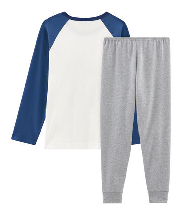 Boys' Ribbed Pyjamas Subway grey / Multico white
