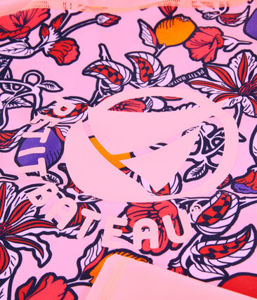 Women's eco-friendly UPF 50+ anti-UV T-shirt Patience pink / Multico white