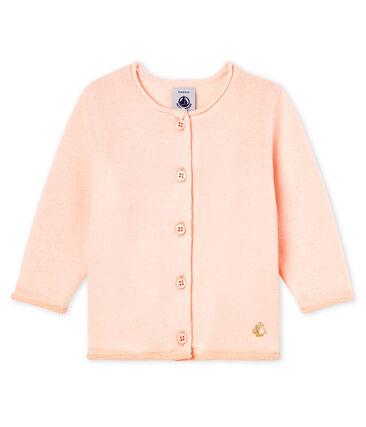 Baby Girls' Wool/Cotton Knit Basic Cardigan Fleur pink