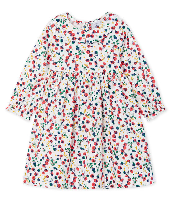 Baby Girls' Long-Sleeved Print Dress Marshmallow white / Multico white