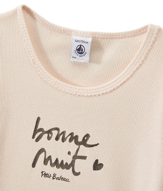 Girl's two-fabric shortie pyjamas with silkscreen motif Lait white / Rose pink
