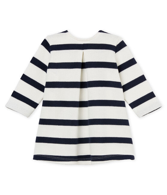 Baby girls' ml breton striped dress Marshmallow white / Smoking blue