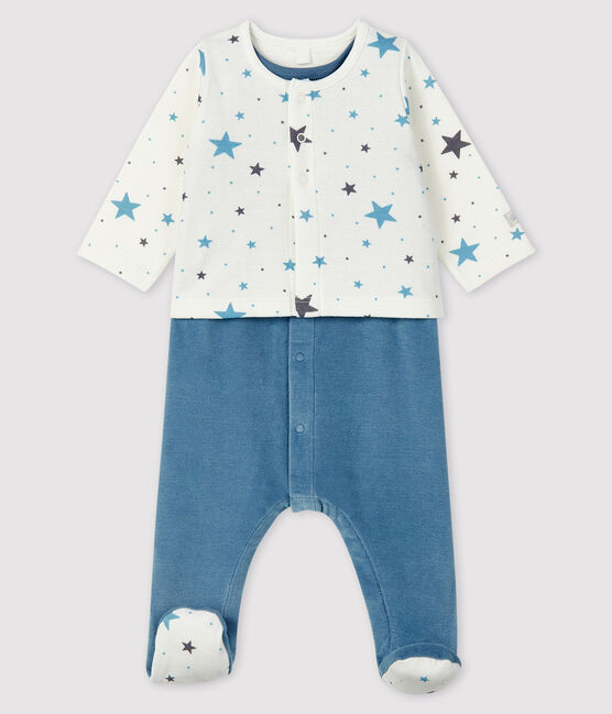 Babies' Starry Blue Velour Two-Piece Pamplemousse yellow / Ecume white