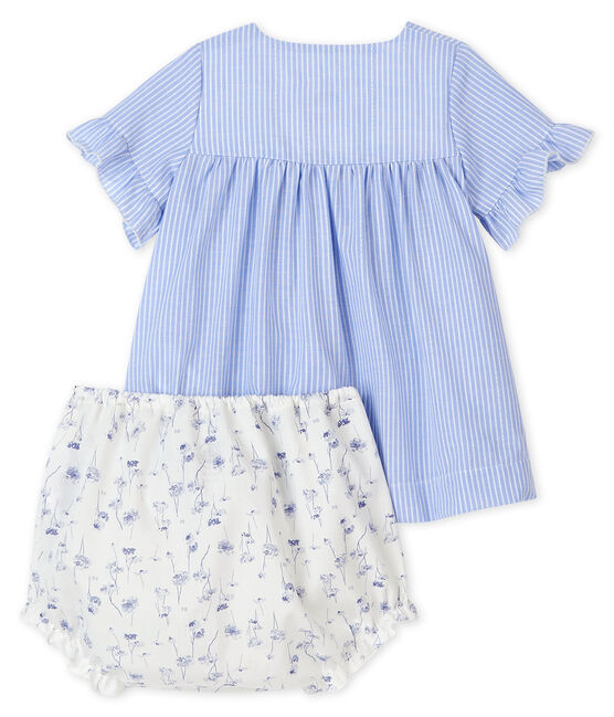 Baby girl's blue striped dress with bloomers in poplin Marshmallow white / Multico white