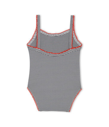 Baby Girls' Pinstriped One-Piece Swimsuit Abysse blue / Lait white