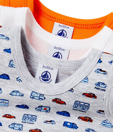 Pack of 3 baby boy sleeveless bodysuits . set