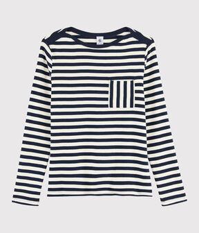 Women's stripy T-shirt Smoking blue / Marshmallow white