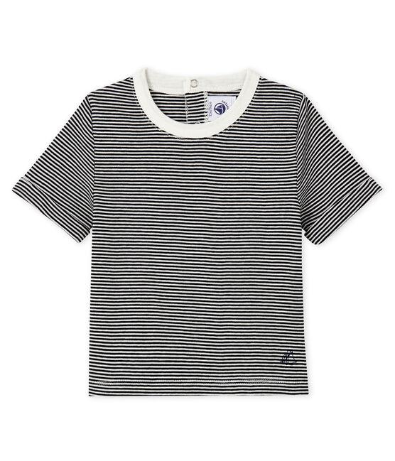 Baby boys' pinstriped T-shirt Smoking blue / Marshmallow white