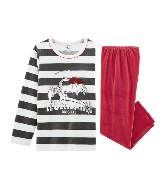 Boys' Velour Pyjamas Terkuit red / Multico white