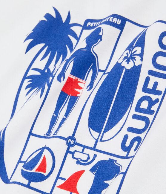 Boys' T-Shirt Marshmallow white / Surf blue