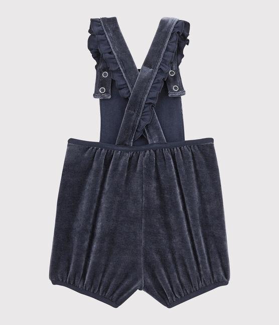 Baby girl's short dungarees Smoking blue