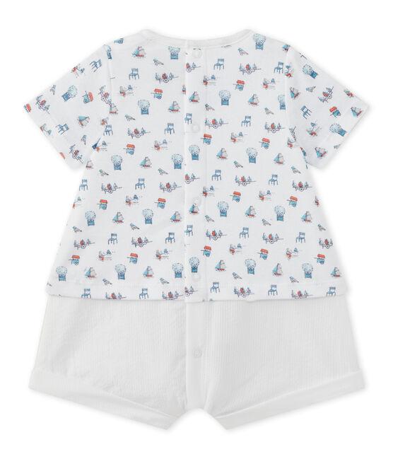 Baby boys' dual-fabric romper Ecume white / Multico white