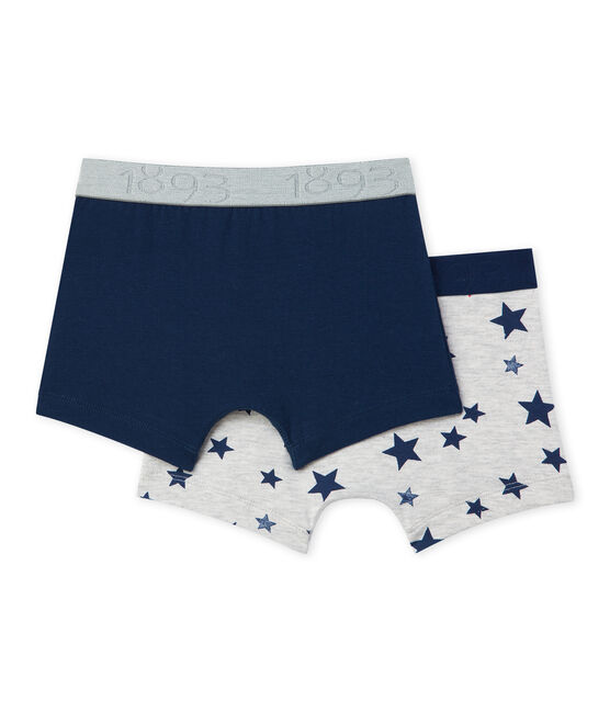 Pack of 2 boy's printed and plain stretch jersey boxers . set
