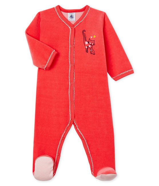 Baby Girls' Velour Sleepsuit Signal red