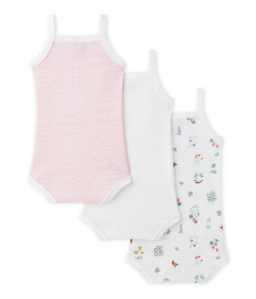 Set of 3 baby girls' bodysuits with straps.