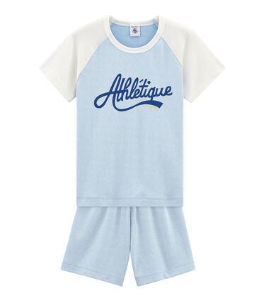 Boys' short Pyjamas Placid blue / Marshmallow white