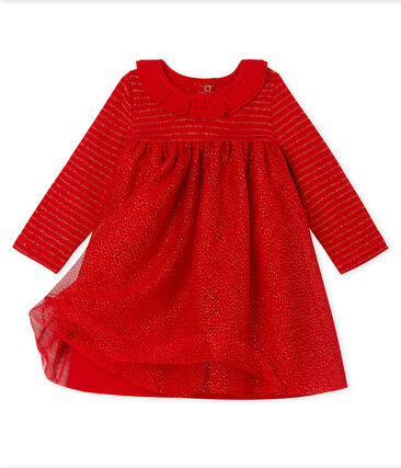 Baby Girls' Long-Sleeved Dual Material Dress Terkuit red / Or yellow