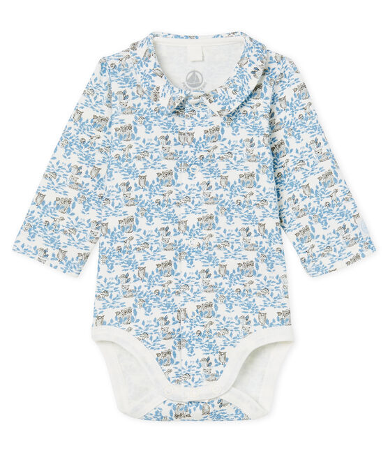 Newborn Baby Boys' Long-Sleeved Ribbed Bodysuit Marshmallow white / Toudou blue