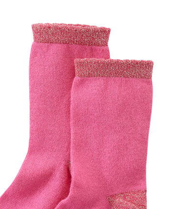 Girl's plain socks Petunia pink