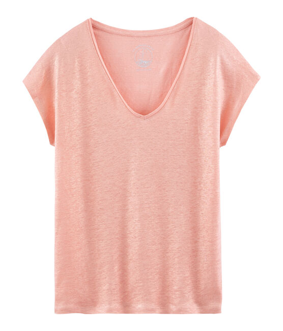 Women's iridescent linen short-sleeved t-shirt Rosako pink / Copper pink