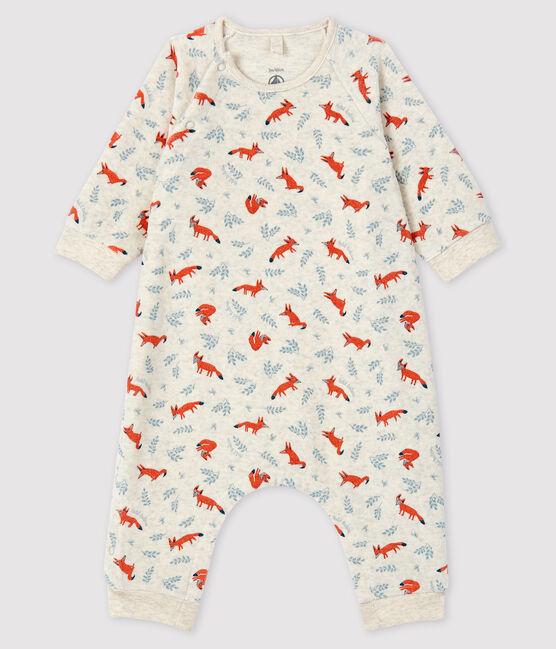Baby Boys' Fox Print Velour Jumpsuit Montelimar beige / Multico white