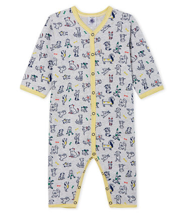 Baby Boys' Footless Ribbed Sleepsuit Poussiere grey / Multico Cn white
