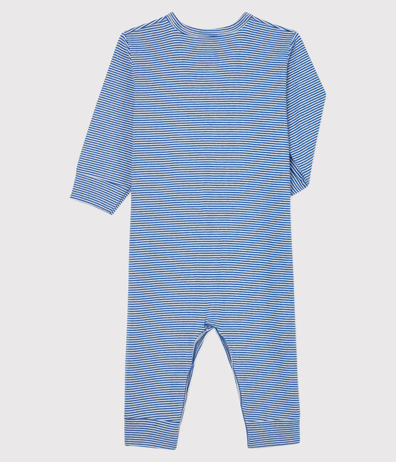 Babies' Blue Striped Footless Ribbed Sleepsuit Pablito blue / Marshmallow white