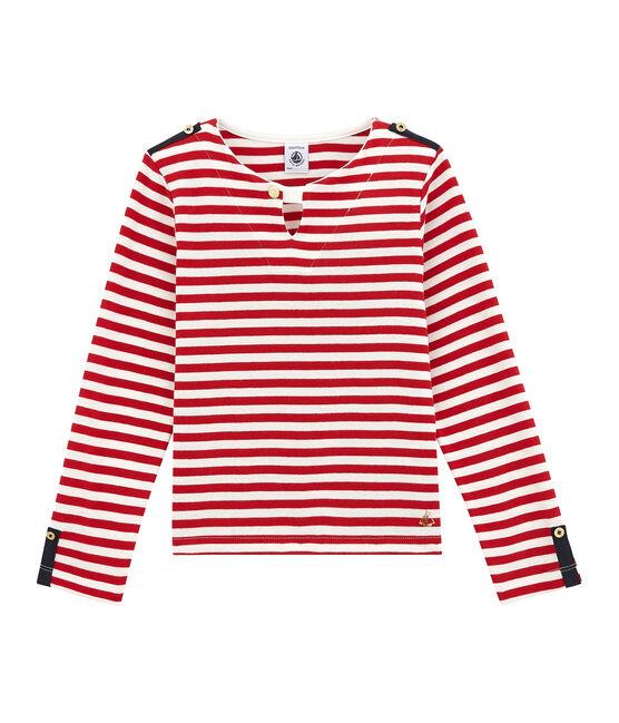 Girl's new-look breton top Terkuit red / Marshmallow white