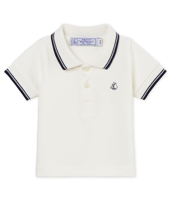 Baby boys' plain piqué polo shirt Marshmallow white