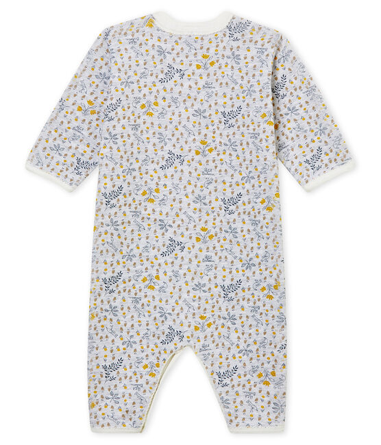 Baby Girls' Ribbed Footless Sleepsuit Poussiere grey / Multico white