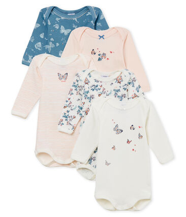 Baby Girls' Long-sleeved Bodysuits in Cotton - Set of 5