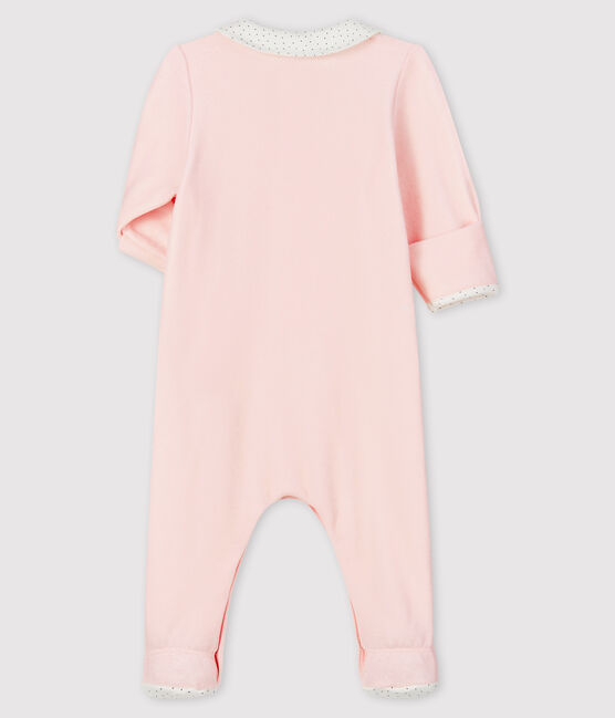 Babies' Pink Organic Cotton Velour Sleepsuit with Collar Fleur pink