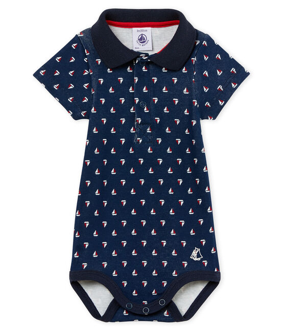Baby boys' printed bodysuit with polo shirt collar Haddock blue / Multico white