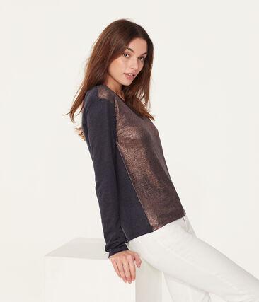 Women's long-sleeved iridescent linen t-shirt