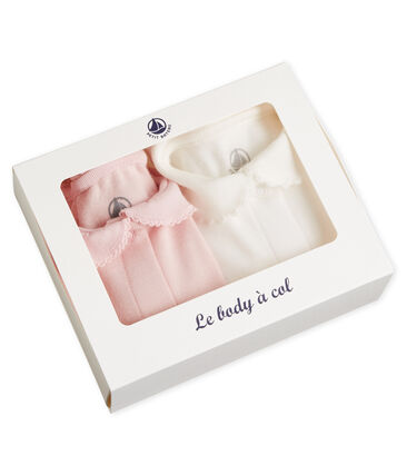 Set of 2 baby girl's bodysuits with collar