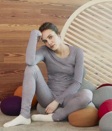 Women's Extra Warm Long-Sleeved T-Shirt Smoking blue / Marshmallow white
