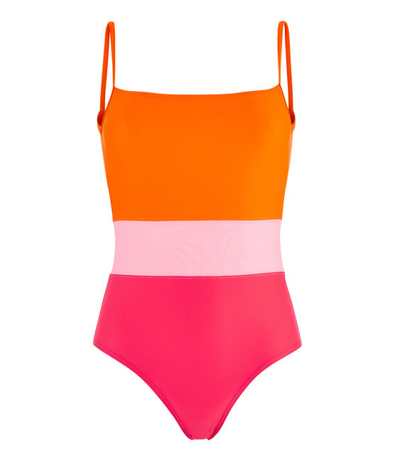 Eco-friendly 1-piece swimsuit Peps red / Multico white
