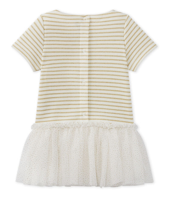 Baby girl's dress with short sleeves MARSHMALLOW/DORE CN