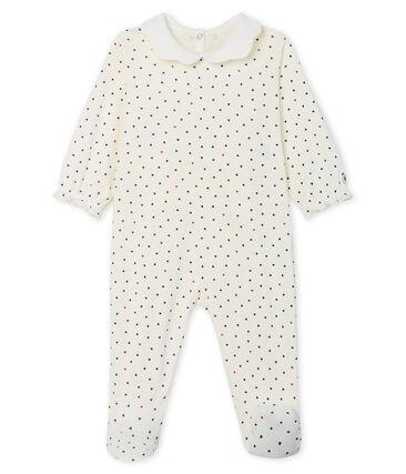 Baby Girls' Ribbed Sleepsuit Marshmallow white / Contes blue