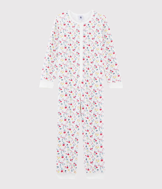 Girls' Jumpsuit in Brushed Terry Towelling Marshmallow white / Multico white