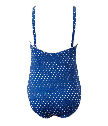 Girl's one-piece polka dot swimsuit Perse blue / Marshmallow white