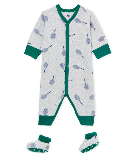 Baby Boys' Nightwear Set in Extra Warm Brushed towelling Poussiere grey / Medieval blue