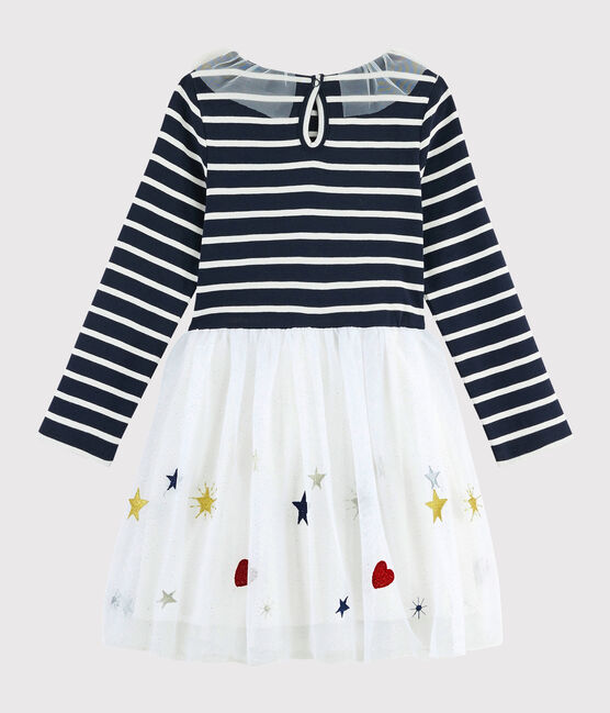 Girl's Long-sleeved Dress Smoking blue / Multico white