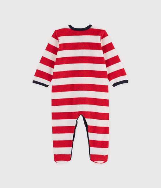 Baby Boys' Striped Red Velour Sleepsuit