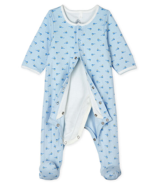 Unisex Baby's Tube Knit Bodyjama Fraicheur blue / Multico white