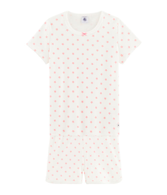 Girls' starry pink short pyjamas in cotton. Marshmallow white / Gretel pink