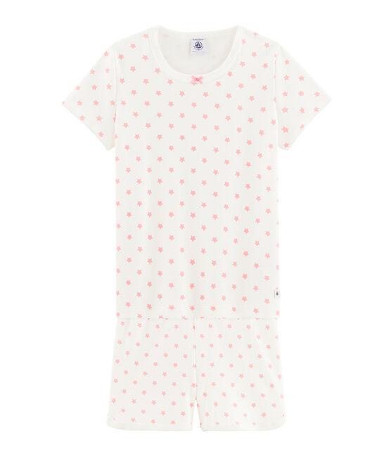 Girls' starry pink short pyjamas in cotton. Marshmallow white / Gretel pink